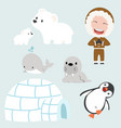 set of eskimo flat design vector image