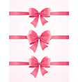 silk pink ribbon and bow set vector image vector image