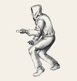 sketch of a thief wearing hood vector image vector image