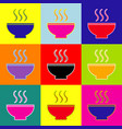 Soup sign pop-art style colorful icons