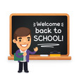 teacher at the school blackboard vector image vector image