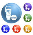 thermos drink burger lunch icons set vector image