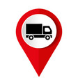 truck icon on square internet button vector image vector image
