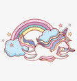 unicorn flying with stars and rainbow clouds vector image vector image