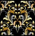 vintage gold silver damask seamless pattern vector image