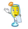 waiter mimosa mascot cartoon style vector image