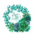 Watercolor succulent wreath vector image vector image