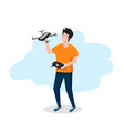 young man holds a drone or quadrocopter in his vector image