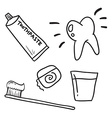 Hand drawn dental care toothpaste teeth symbol vector image
