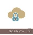cloud computer storage with lock icon vector image