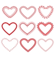 Set of vintage ornamental hearts shapes vector image