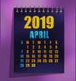 2019 calendar template flat design vector image vector image