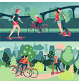 active people on city street and park outdoor vector image vector image