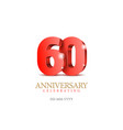 anniversary 60 red 3d numbers vector image