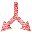 bifurcation arrow down fabric textured icon vector image vector image