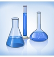 Blue laboratory flasks glassware symbol vector image