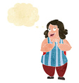 cartoon happy cook with thought bubble vector image vector image