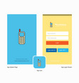 company mobile phone splash screen and login page vector image vector image