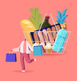 customer character in grocery supermarket vector image