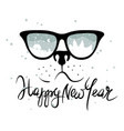 dog in the glasses in which winter is reflected vector image vector image