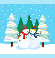 festive card with snowman and fir-tree vector image vector image