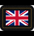 flag of united kingdom icon on black leather vector image