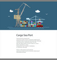 flyer with cargo seaport vector image vector image