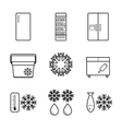 fridge line icons set vector image vector image