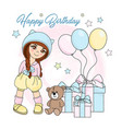 girl birthday color set vector image