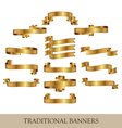 gold ribbon banners vector image