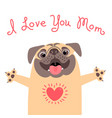 greeting card for mom with cute pug declaration vector image vector image