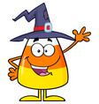 happy candy corn character with a witch hat vector image