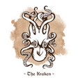 Kraken legendary sea monster giant octopus vector image