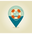 Lifebuoy pin map icon Summer Beach Sea vector image vector image