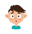 little boy surprised face expression cartoon vector image