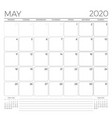 may 2020 monthly calendar planner template vector image vector image