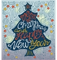 Merry Christmas and happy new year handdrawn vector image vector image