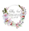 orchid flowers wreath watercolor beautiful vector image vector image