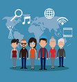 people communication network world vector image vector image