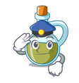 police character olive oil in bottle wooden vector image