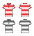 polo striped t shirt man template front back vector image
