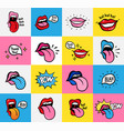 pop art lips seamless pattern sexy woman s vector image