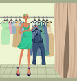 pregnant girl trying on clothes vector image vector image