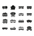 railway carriage icon set simple style vector image vector image