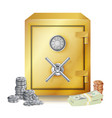 safe and money stacks metal coins vector image vector image