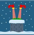 santa elf stuck in chimney merry christmas card vector image