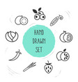 set of berry icons line style symbols with leek vector image
