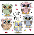 set of cartoon owls on a white background vector image vector image