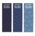 set of three indigo blue graphic pattern banners vector image