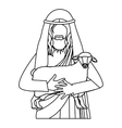 silhouette half body jesus carrying a sheep vector image